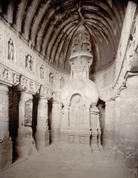 Interior of Cave No 19, [Ajanta]
